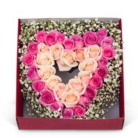 핑크장미,안개꽃하트상자 93c